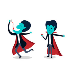dracula with glass of blood in cartoon vector image