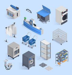 dry cleaning and laundry service isometric set vector image