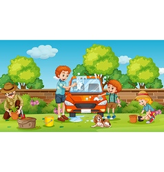 Father and son cleaning car in yard vector