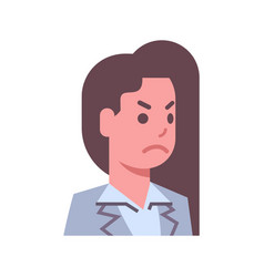 Female angry emotion icon isolated avatar woman vector