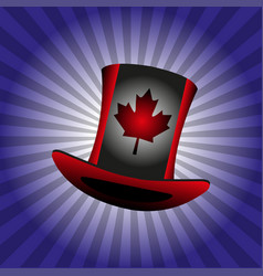 Flag of canada on a hat the blue background vector