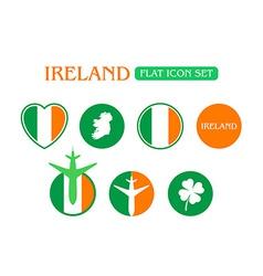 Flat Icon Set with Ireland Flag vector image