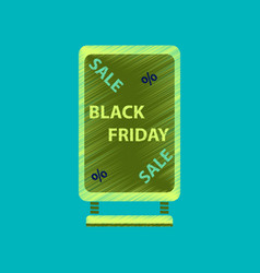 Flat shading style icon signboard black friday vector
