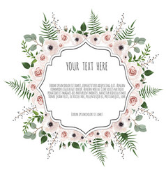 floral card design with pink creamy white garden vector image