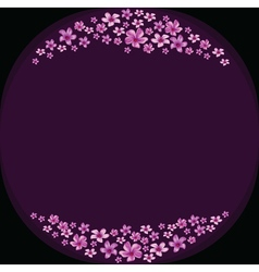 Floral frame with violet flowers on dark violet vector image