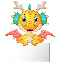 Funny dragon cartoon holding blank sign vector