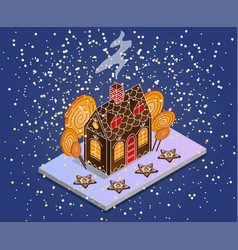 gingerbread house isometric gingerbread in the vector image