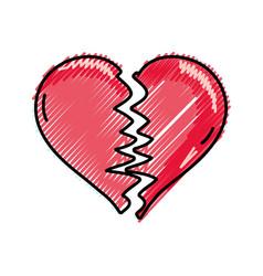 grated heart love symbol broken design vector image