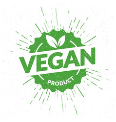 Green vegan product lettering stamp vector