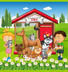 Group pet with owner in park scene vector