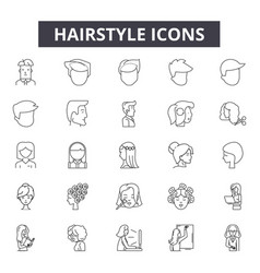 hairstyle line icons signs set outline vector image