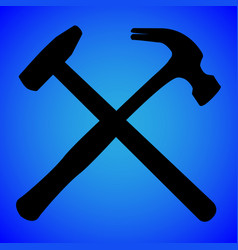 hammer silhouette isolated on blue background vector image
