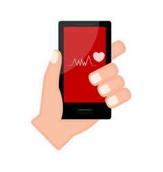 hand holding a smartphone with a heart shape icon vector image