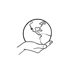 hand holding the globe hand drawn sketch icon vector image