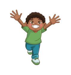 happy boy cartoon kid emotion smile image vector image