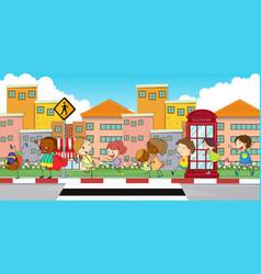 happy children walking on sidewalk vector image