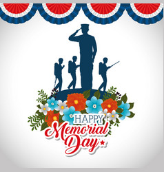 Happy memorial day with beautiful flowers and vector
