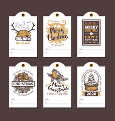 happy new year greeting cute tags cards for gifts vector image
