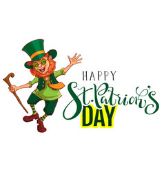 happy stpatricks day text greeting card red vector image