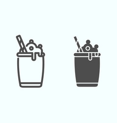 Ice cream cocktail line and solid icon milkshake vector