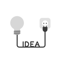 Icon concept of grey light bulb with idea cable vector