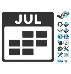 July calendar grid icon with bonus vector