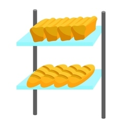 Loaves of bread on shelves icon cartoon style vector