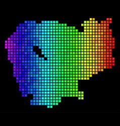 luminous pixelated cambodia map vector image