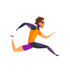 man in futuristic clothing running technology of vector image