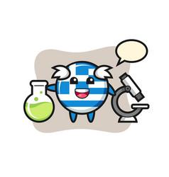 Mascot character greece flag badge as a vector