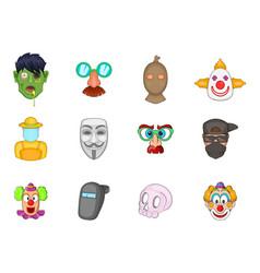 Mask icon set cartoon style vector