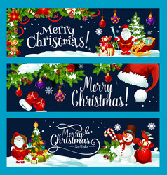 Merry christmas tree gift decoration banner vector