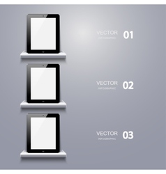 Modern computer tablet infographic vector