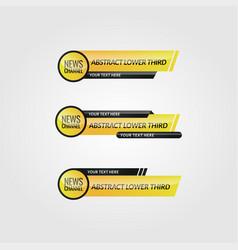 Modern yellow lower third set design vector