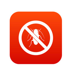 no cockroach sign icon digital red vector image