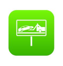 No parking sign icon digital green vector