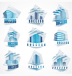 office buildings set modern architecture vector image
