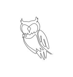 one single line drawing elegant owl bird vector image