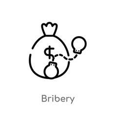 Outline bribery icon isolated black simple line vector