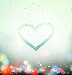 painted heart on Sweaty Window vector image