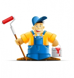 Painter and paint vector