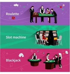People In Casino Banner Set vector