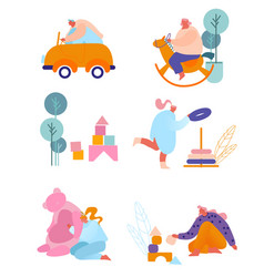 People with kids toys set tiny characters holding vector