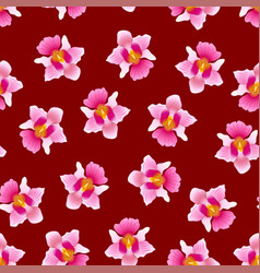 Pink vanda miss joaquim orchid on red background vector
