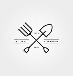 pitchfork and shove icon logo minimalist design vector image
