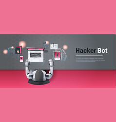 robot hacking digital devices computer hacker bot vector image