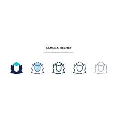Samurai helmet icon in different style two vector