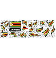 Set national flag zimbabwe in vector