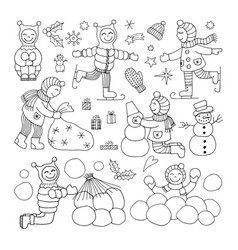 set of different funny kids icons vector image