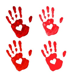 Set of Hand print with heart icon vector image